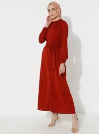 Tuğla - Düğmeli yaka - Elbise