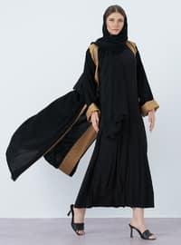 Gold - Black - V neck Collar - Abaya