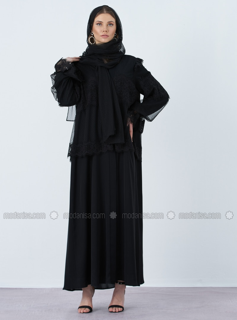 Black - V neck Collar - Abaya