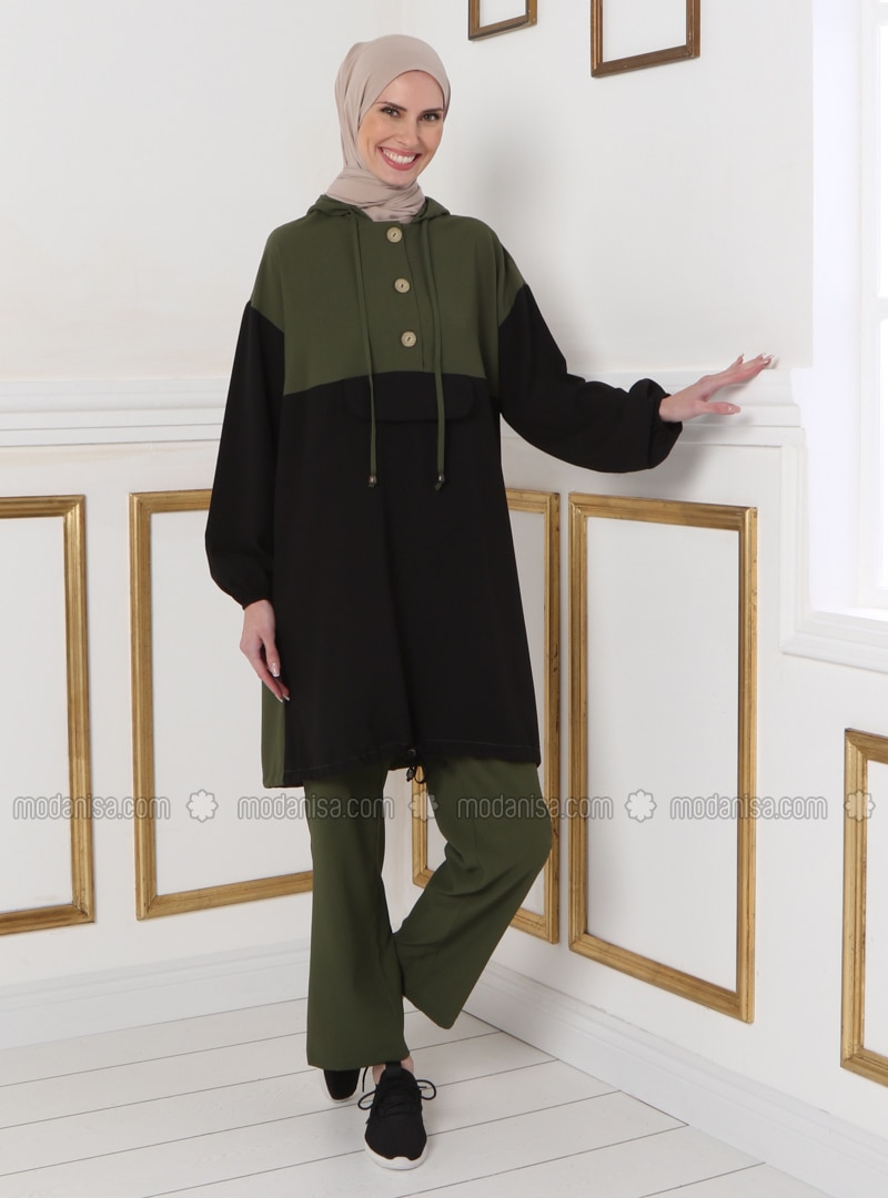 Khaki - Black - Unlined - Suit