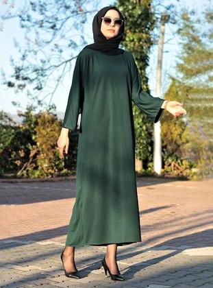 Green - Crew neck - Unlined - Dress