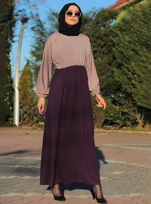 Multi - Plum - Crew neck - Unlined - Dress