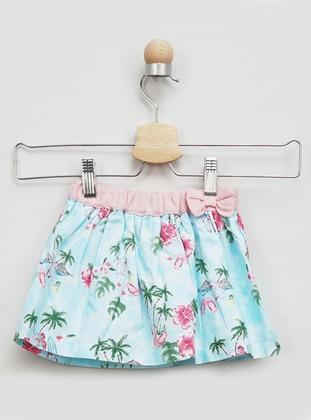 Floral - Linen - - Blue - Baby Skirt