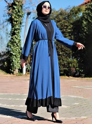 Blue - Black - Unlined - V neck Collar - Abaya