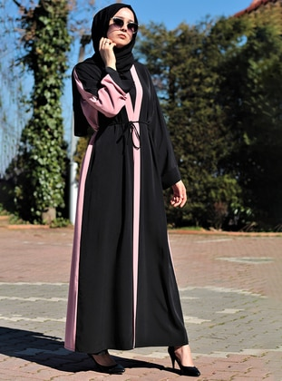 Powder - Black - Unlined - V neck Collar - Abaya