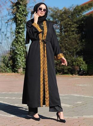 Yellow - Black - Unlined - V neck Collar - Abaya