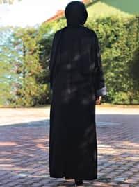 Gri - Siyah - Astarsız - V yaka - Ferace