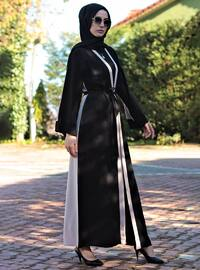 Cream - Black - Unlined - V neck Collar - Abaya
