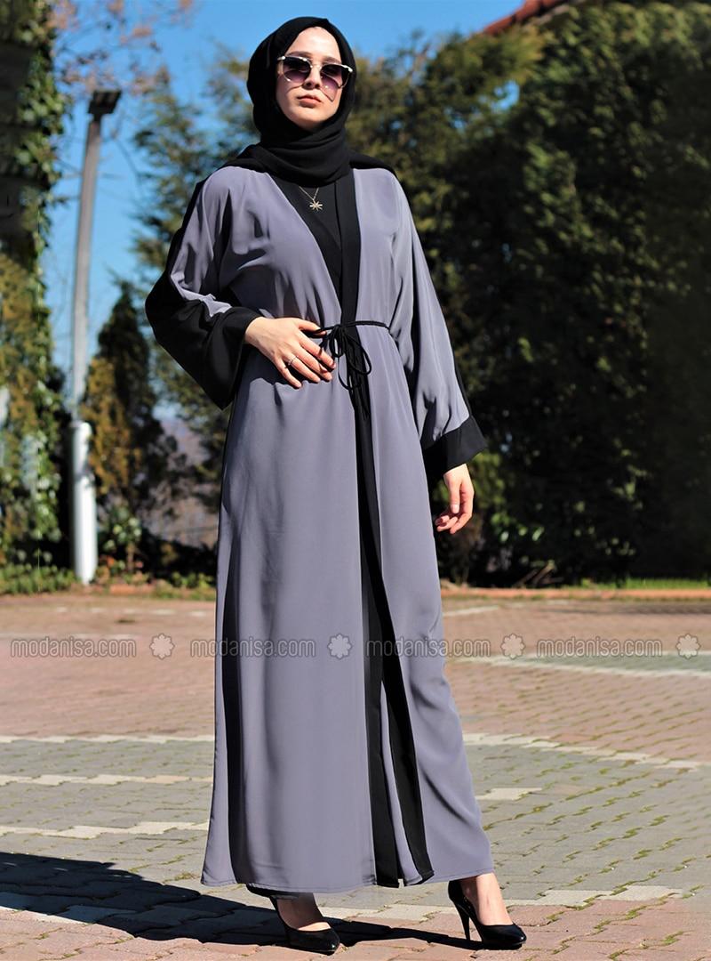 Gray - Black - Unlined - V neck Collar - Abaya