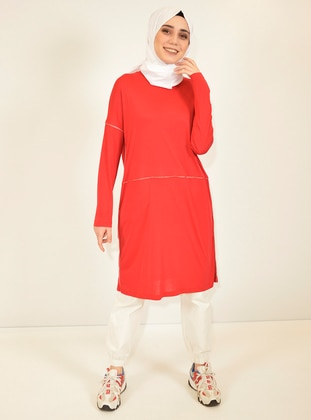 Red - Crew neck - Viscose - Tunic