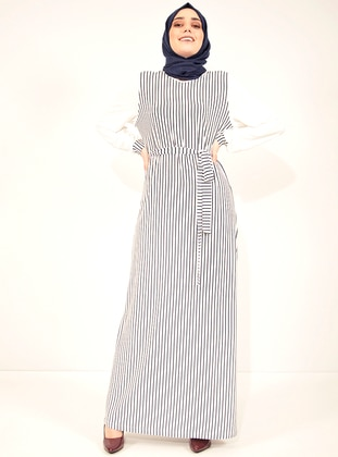 White - Navy Blue - Stripe - Crew neck - Unlined - Viscose - Dress