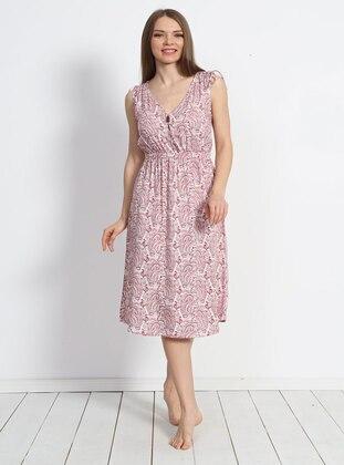 Pink - Viscose - Loungewear Dresses - VIENETTA