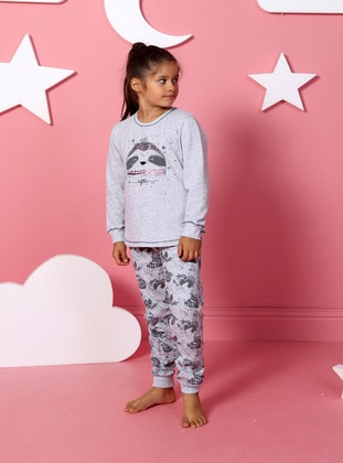 Multi - Crew neck -  -  Polyethylene - Gray - Girls` Pyjamas