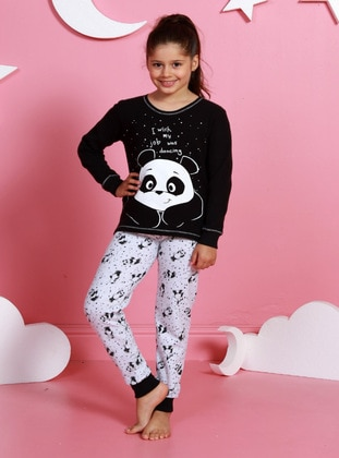 Multi - Crew neck -  - Unlined - Black - Girls` Pyjamas
