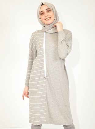 Gray - Stripe -  - Tunic