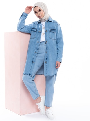 Blue - Point Collar - Denim -  - Jacket