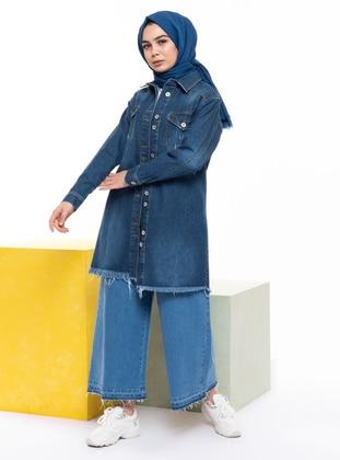 Navy Blue - Point Collar -  - Jacket