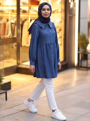 Navy Blue - Round Collar -  - Tunic