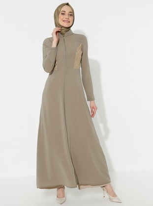 Olive Green - Unlined - Crew neck - Abaya