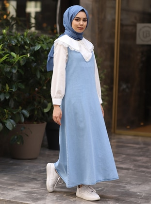 Blue - V neck Collar - Denim -  - Dress