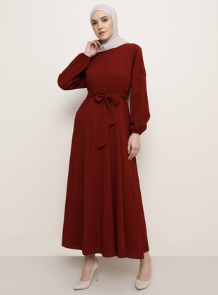 Maroon - Crew neck - Unlined - Dress - Tavin