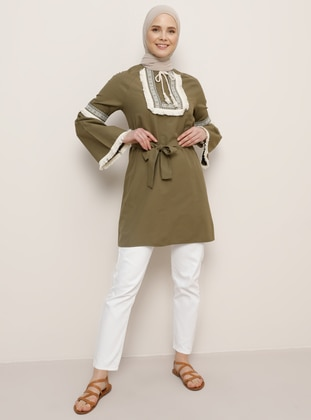 Khaki - Crew neck - Cotton -  - Tunic