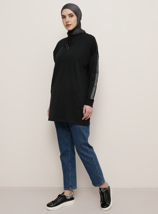 Black - Crew neck -  - Tunic - Tavin