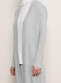 Gray - Shawl Collar - Cardigan
