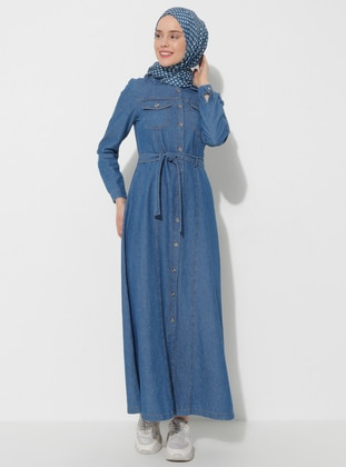 Blue - Point Collar - Denim - Dress