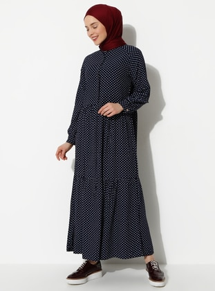 Navy Blue - Button Collar - Dress