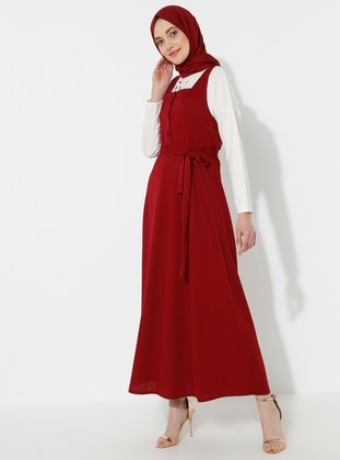 Maroon - Sweatheart Neckline - Dress