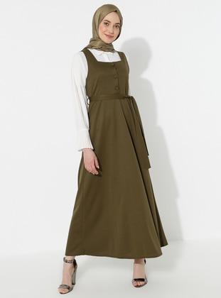 Khaki - Sweatheart Neckline - Dress