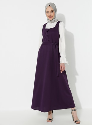 Purple - Sweatheart Neckline - Dress