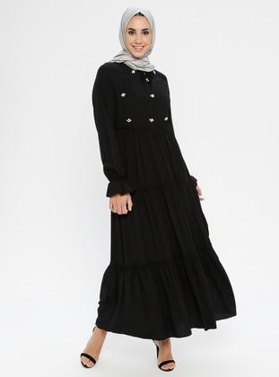 Black - Black - Crew neck - Fully Lined - Black - Black - Dress