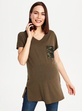 Khaki - Maternity Blouses Shirts