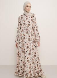 Somon - Çiçekli - Yuvarlak yakalı - Astarsız kumaş - Viskon - Elbise