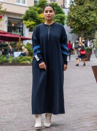Ecru - Indigo - Navy Blue - Unlined - Crew neck - - Plus Size Dress - Alia