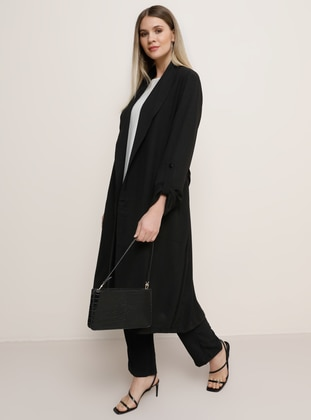 Black - Shawl Collar - Plus Size Coat - Alia