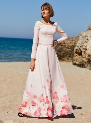 Pink - Floral - Boat neck - Fully Lined -  - Dress