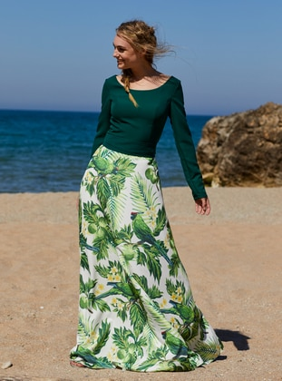 Green - Floral - Boat neck - Fully Lined -  - Dress