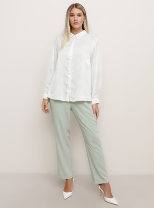 Sea-green - Viscose - Plus Size Pants