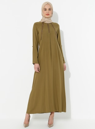 Olive Green - Crew neck - Dress
