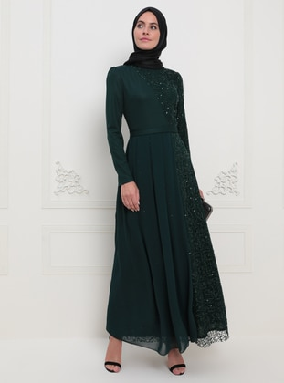 Emerald - Unlined - Crew neck - Muslim Evening Dress