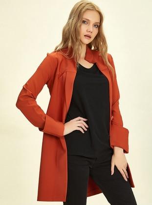 Orange - Unlined - Shawl Collar -  - Jacket