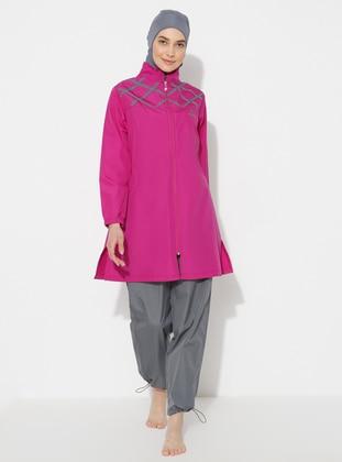 Gray - Purple - Plus Size Swimsuit