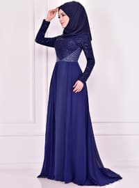 Indigo - Fully Lined - Crew neck - Muslim Evening Dress