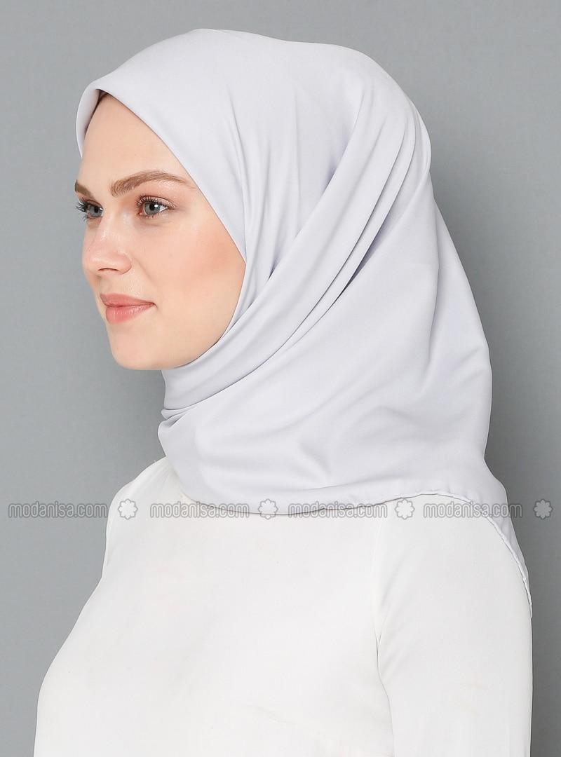 Silver tone - Plain - Rayon - Twill - Scarf
