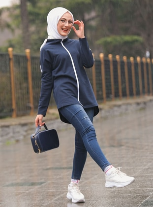 Navy Blue -  - Polo neck - Tracksuit Top