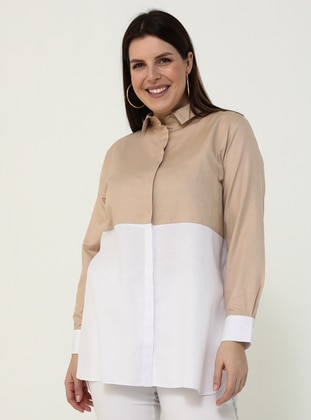 White - Stone - Point Collar -  - Plus Size Tunic