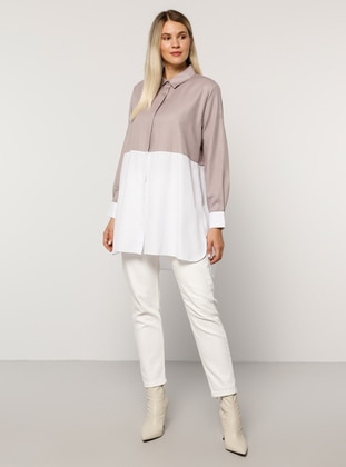 White - Lilac - Point Collar -  - Plus Size Tunic